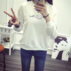 实拍 1606#卫衣也可以小清新 韩国爱心刺绣卫衣女 纯棉白色