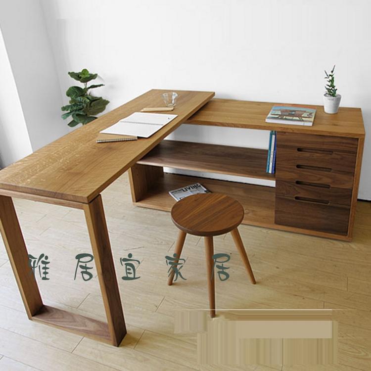 定制简约全实木办公桌老榆木转角书桌住宅家具电脑桌子组合送凳子