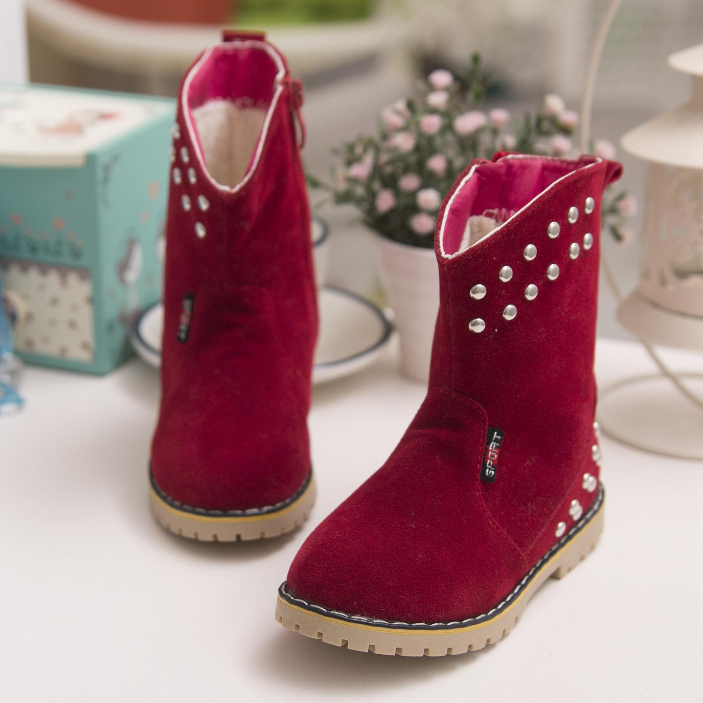 Новый корейский 2014 зимние ботинки детей снега сапоги девушки заклепки сапоги замшевые Мартин сапоги