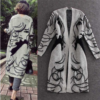 European station foreign trade original single authentic goods tail goods womens clothing European and American rabbit hair medium length sweater womens cardigan coat autumn and winter