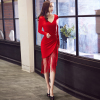 Small ladies dress women 2017 new elegant banquet party toast clothing bridesmaid dress bride banquet red summer