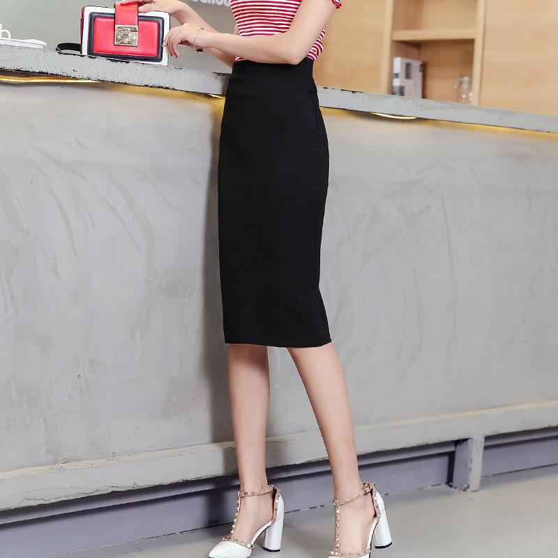 夏季时尚OL高腰后开叉半身裙显瘦包臀裙中长款修身一步裙女西装裙