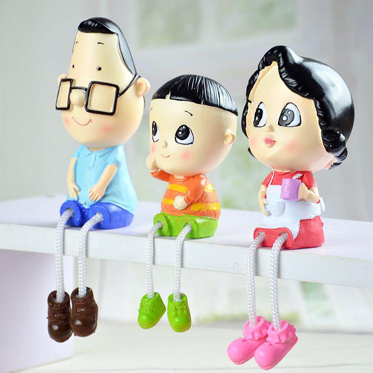 新品樹脂娃娃一家三口擺件 大頭兒子小頭爸爸卡通人物家居擺設