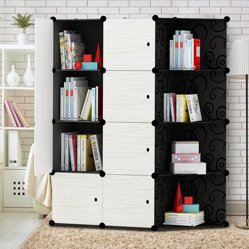 书柜简易柜子自由组合柜储物柜带门实木纹简约现代多功能收纳书架