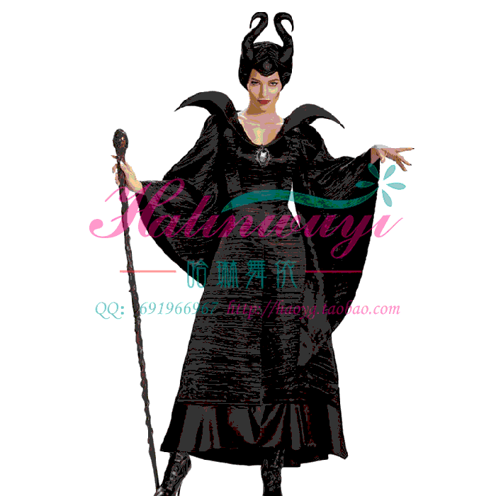 Movie characters sleeping curse role play cos adult black witch Party Costume