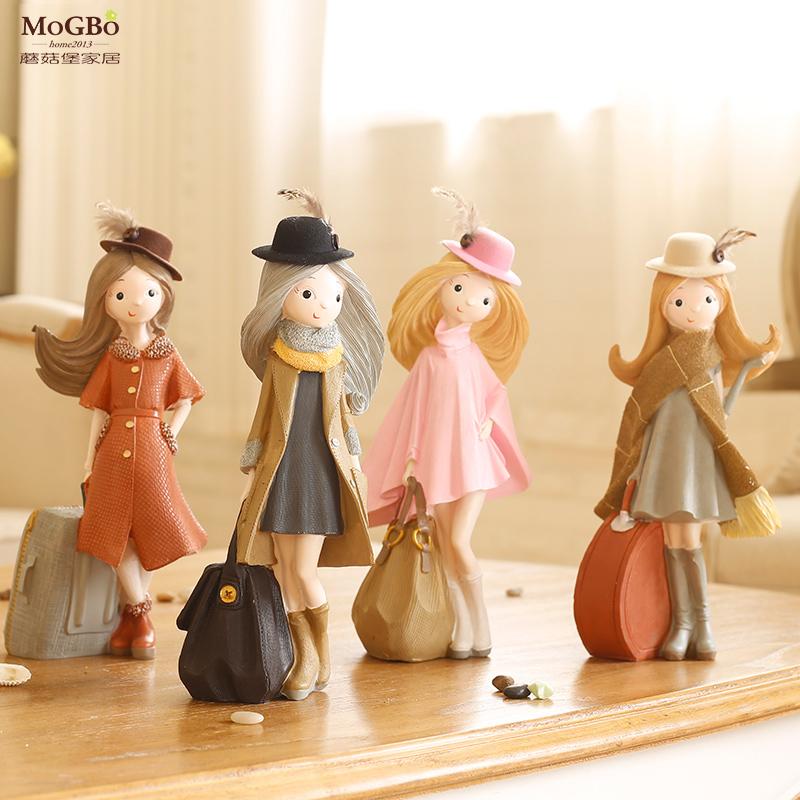 蘑菇堡 奈爾姑娘 歐式美式鄉村田園樹脂彩繪雕刻裝飾擺件