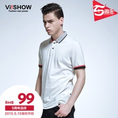 Viishow2015 summer of the new Europe and slim fit short sleeve POLO shirts white Polo Polo Shirt lapel tide