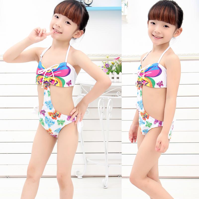 Новых детей детей Купальники девочек принцесса ребенок мало купальник девушка показывает Онсэн купальный костюм