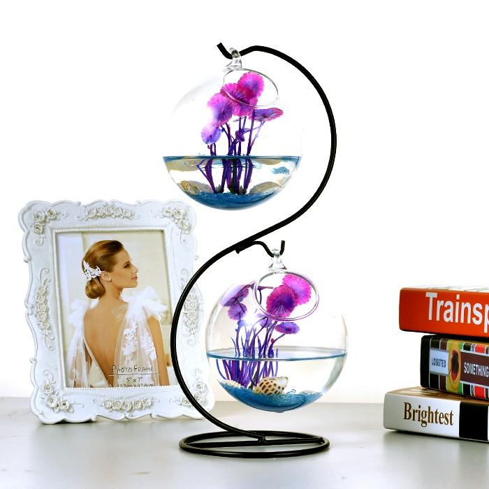 壁掛簡約迷你桌麵小魚缸 透明玻璃圓形 家居辦公桌客廳鬥魚缸
