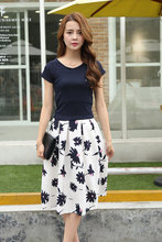 15 sweet summer dresses in pure cotton short sleeve T-shirt two-piece leisure fashion skirt suits female flower cultivate one's morality