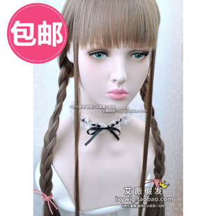 Japanese daily maid honey brown powder harajuku lolita soft sister Sen female hairnet straight bangs straight red Wigs / wig accessories