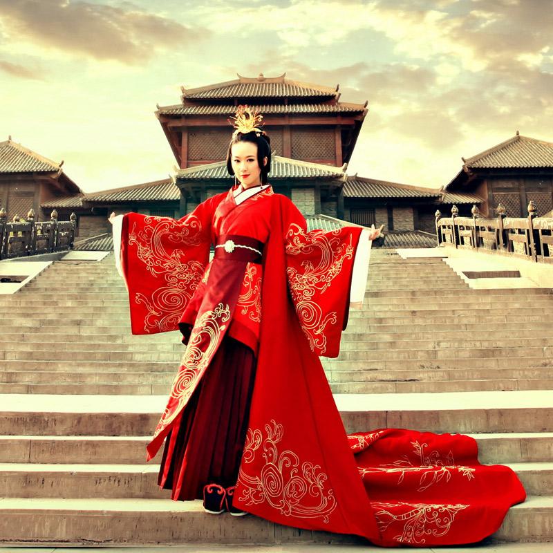 结婚汉服凤冠霞帔婚礼服装新娘嫁衣中国风美人心计风袍皇后古装女