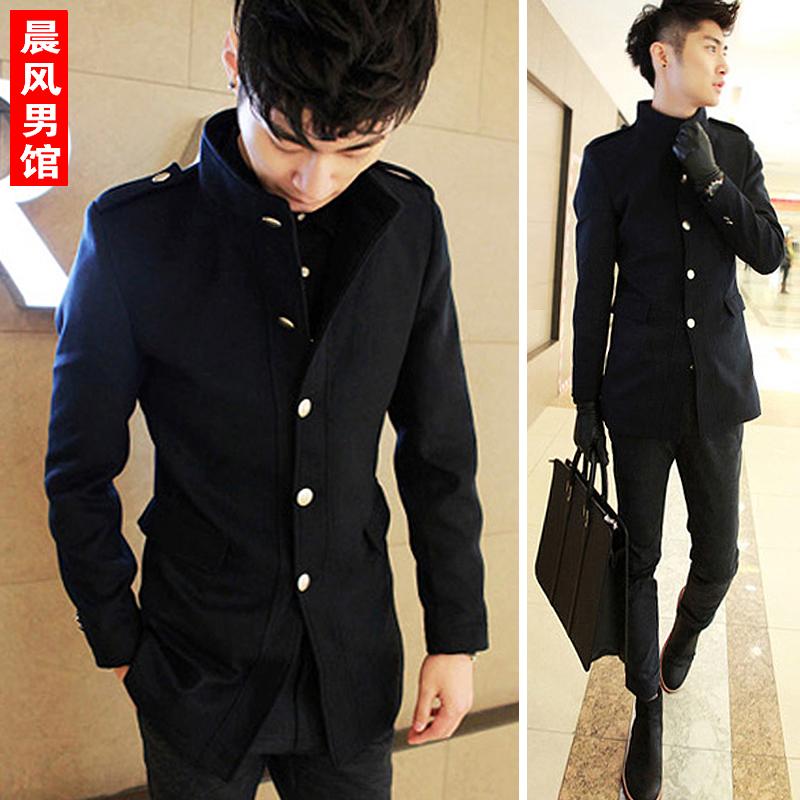Чистый цвет в корейской версии Англии осенью шерстяные ткани пальто мужчин траншейные пальто мужчин самосовершенствование шерстяное пальто мужчин ЧАО