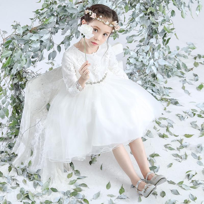 麗蘭朵女童白色燕尾禮服花童連衣裙公主裙蓬蓬裙拖尾兒童禮服婚紗