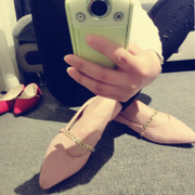 2015 spring new pointy shoes women's flat shoes with suede flat with the Korean version of the chain shoe flashes light low