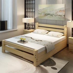 实木床松木床 单人床双人成人床类儿童床 1米1.2米1.5米1.8米新款