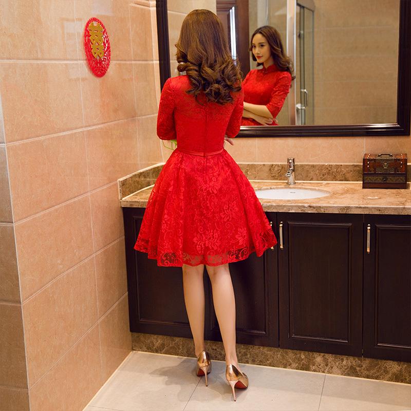 敬酒服新娘短款2017 修身顯瘦晚禮服長袖結婚禮服裙紅色女