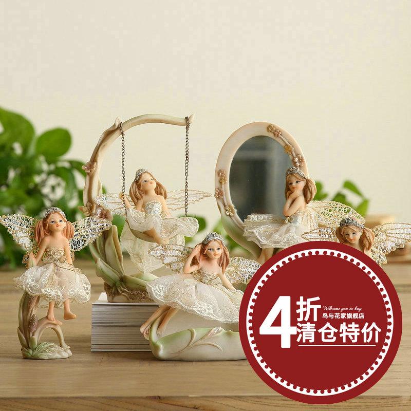 歐式田園天使花仙子家居裝飾品擺件結婚 送禮化妝鏡台式工藝品