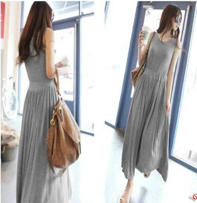 夏季韩版女士连衣裙莫代尔长裙收腰显瘦宽松长款连衣裙大码背心裙