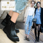 Puqi 2015 spring new suede leather flat heel boots leather boots belt buckle flat-bottom Martin short tube boots