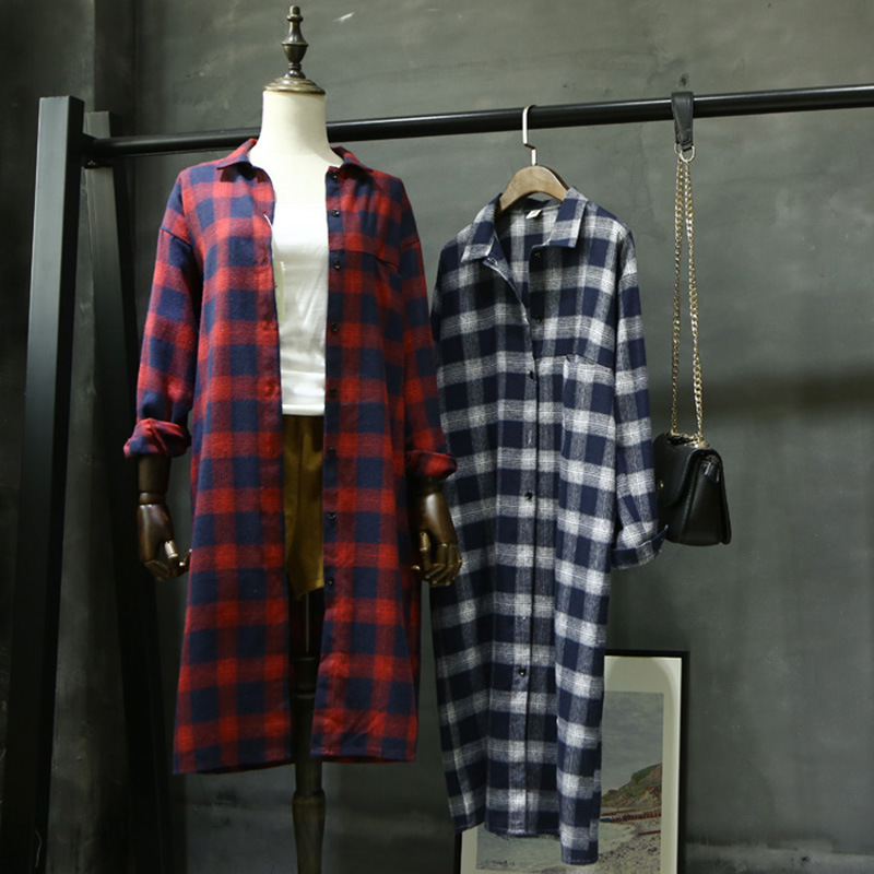 Retro Navy new spring 2020 womens top Lapel loose extended Cotton Long Sleeve Plaid Shirt