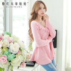 Sweater girls pink doll 2015 install new a swing set for fall/winter blossoms the Korean version of loose women sweater