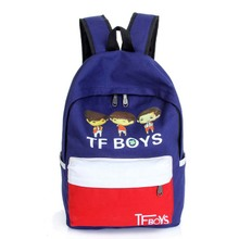 Printed canvas of portable TFBOYS cartoon icon, the letters, young men and women double shoulder high school bag