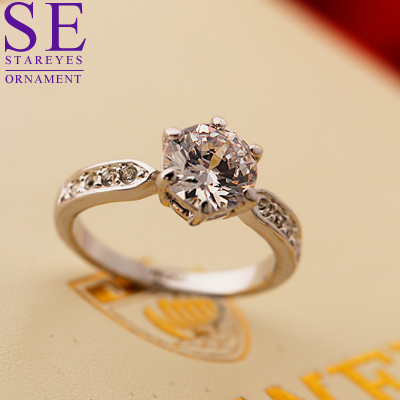2 carat six claw couple ring wedding scene props wedding proposal Valentines Day gift couple ring