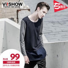 Viishow2015 spring solid-colored casual slim fit crew neck sweater new contrast stitching l Europe sweater men
