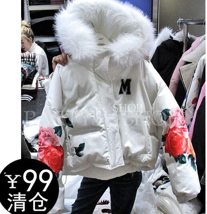 2016 зимняя одежда женщин плюс размер большие восточные ворота принесли белые короткие Корейский хлопка мягкий пальто куртки проложенные куртка