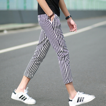 Summer style ICONS cultivate one's morality pants nine minutes of pants zebra stripe and feet small waist elastic han edition men's casual pants pants