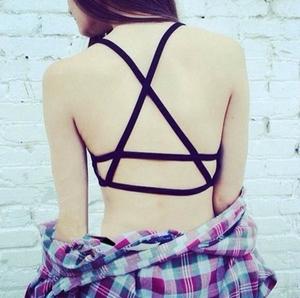 6776#新款美背抹胸背心后背交叉裹胸性感吊带文胸露背内衣