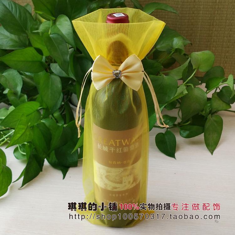 Корейский бант шифрование пряжа вино мешок прямо вино крышка деятельность подарочная упаковка мешок прозрачный узкая гавань мешок из органзы