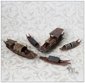 江南水乡木制渔船模型摆设家居书房橱柜桌面装饰摆件创意生日礼物