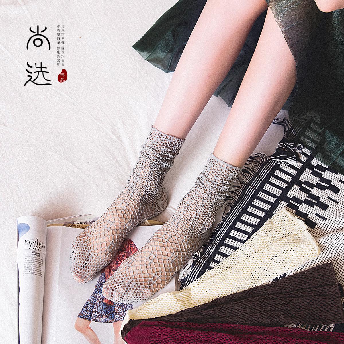 渔网袜子女士丝袜中筒袜秋冬加厚透气镂空堆堆袜女韩版日系中筒袜