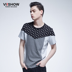 Viishow2015 summer dress new style short sleeve t-shirt men's fashion simple wave pattern colour matching short sleeve t-shirt