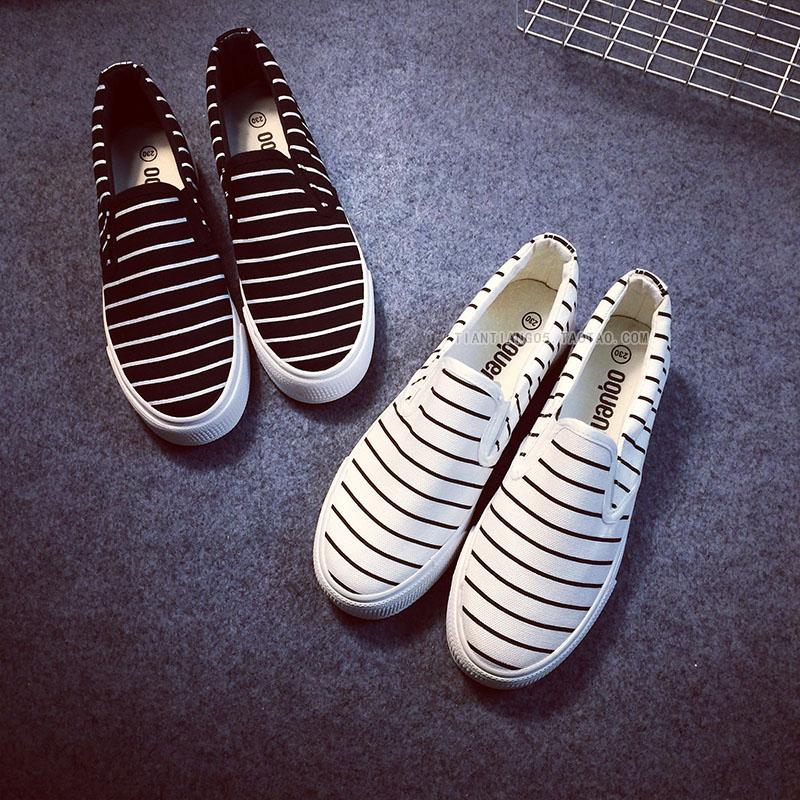 Толстый конец ленивых людей с старый Пекин обувь обувь Обувь обувь плоской Женская обувь осень полосы матери обувь повседневная обувь