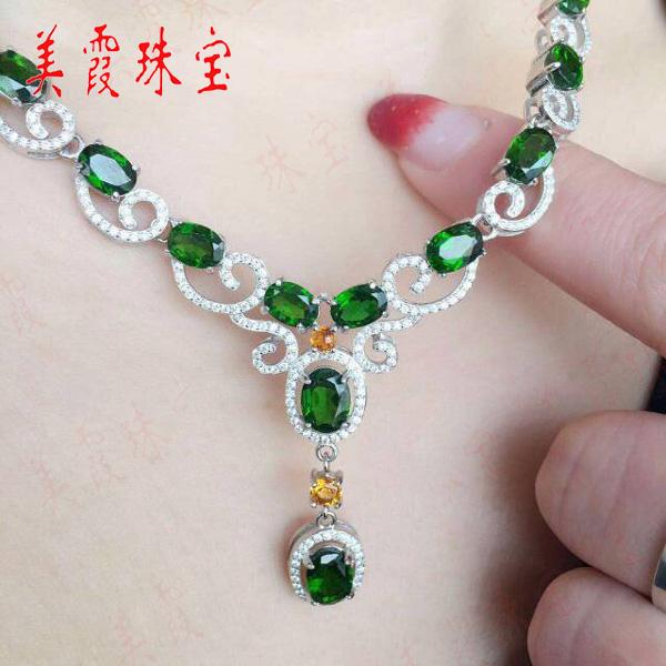 925纯银镶绿色皇后之称的天然透辉石项链女 豪华大方 生日礼物