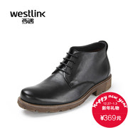 Westlink/2015 West new round leather lacing leather short boots winter warm wool men's boots
