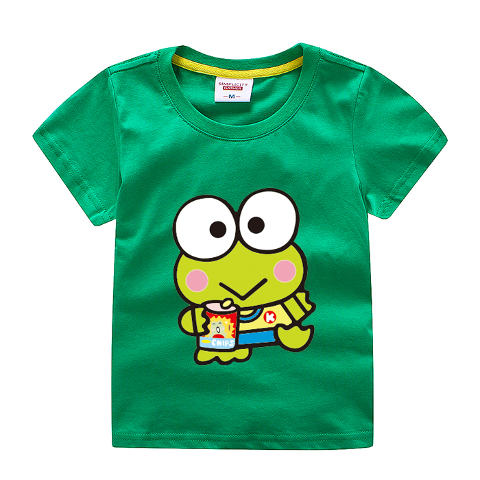 3 baby green short sleeve clothes 69 year old boys and girls all little frog T-shirt summer cotton half sleeve top