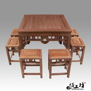 八仙桌实木餐桌椅组合8人吃饭桌子榆木新古典餐厅小户型住宅家具