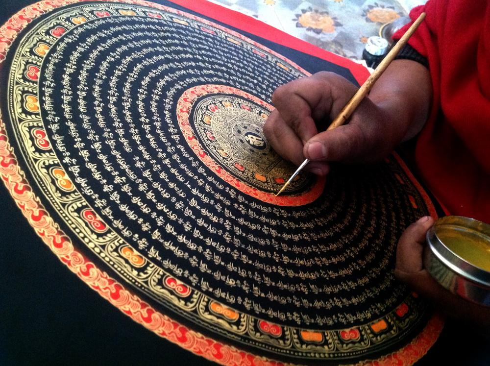 Праджна бисер 40 * 40 см Тханка картины и картины шесть слово Мантра Тантра Мантра Непальская лама Чистая Ручная роспись