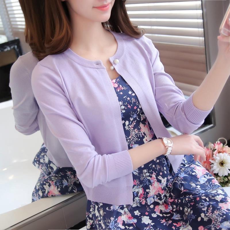 Весной и летом Кондиционер в новые вязать свитер джемпер рубашка женщин с длинным рукавом тонкий небольшой корейской версии self шали пальто женский бумеры