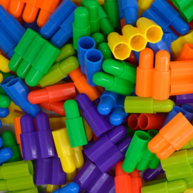 塑料子弹头积木玩具拼插儿童益智火箭头大号幼儿园男女孩装搭桌面