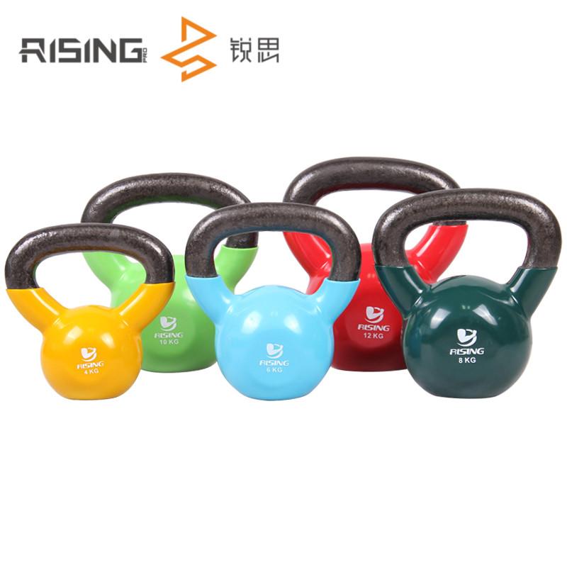 RISING锐思浸塑健身壶铃包胶提壶哑铃男士女士彩色壶铃