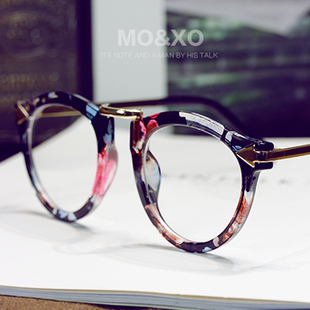 Korean version of the influx of male and female models big retro big black round glasses frame myopia sheet metal optical frames plain mirror