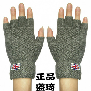 Sheng Qi Men s winter wool half finger typing office Young Students thick warm gloves half mittens