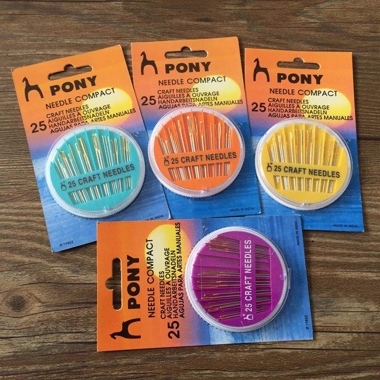 印度进口PONY马牌手缝针盒针 十字绣拼布针刺绣毛线针 25枚入
