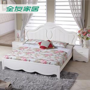 聚全友家私韩式床田园床卧室家具套装组合床垫四件套双人床120606