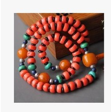 A10MM coral beads chain necklace collectables - autograph collection supplies wholesale beeswax turquoise Tibetan silver beads insulation